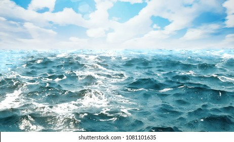 ocean waves with day sky on the background. 3D rendering
