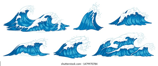 Ocean waves. Raging sea water wave, vintage storm waves and ripples tides hand drawn. Tsunami wave, ocean tide or marine surfing splash.  illustration isolated icons set