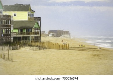 Oceanside beach at Rodanthe on Hatteras Island in the Outer Banks of North Carolina, USA, with digital painting effect, for coastal, vacation, and environmental themes
