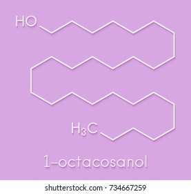 Octacosanol plant wax component molecule. long chain fatty alcohol, present  in e.g. the waxy