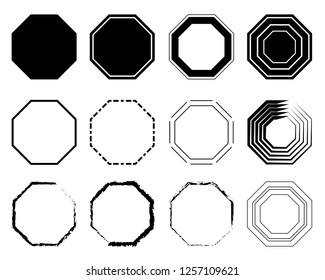 Octagon icon pack. Geometry octagonal eight sided polygon octagon line