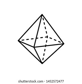 Octahedron geometric shape projection of dashed and straight lines on sides three dimensional form raster illustration isolated white background