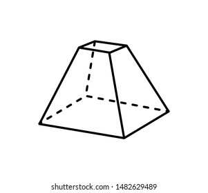 Octahedron geometric shape projection of dashed and straight lines three dimensional form geometry icon raster illustration isolated on white background