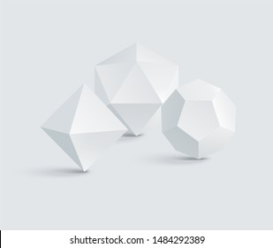 Octahedron and icosahedron dodecahedron prisms white geometric figures group raster illustration polygonal triangles pentagons