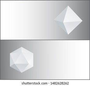 Octahedron and icosahedron three-dimensional shapes regular solid figures with equal triangular faces geometric 3d in white raster web poster