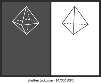 Octahedron and tetrahedron geometric shapes simple figures sketches made from lines or dashes triangular thin projections raster illustrations set.