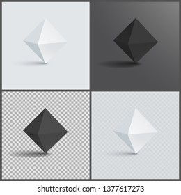Octahedron three-dimensional shape plane faces regular solid figure with eight equal triangular geometric 3d shapes in black and white raster