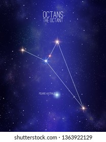 Octans the octant constellation map on a starry space background. Stars relative sizes and color shades based on their spectral type.