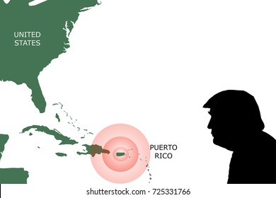 OCTOBER 1, 2017: An illustration showing a map of United States and the island of Puerto Rico with red alert sign over it. A silhouette US President Donald Trump is shown in the bottom right corner.