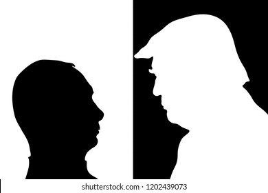October 14, 2018: illustration to the portraits of US President Donald trump and Russian President Vladimir Putin, the concept of hostile relations between the leaders