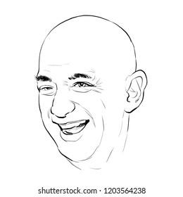 October 15, 2018 Caricature of Jeff Bezos CEO Amazon businessman Millionaire Portrait Drawing Illustration.