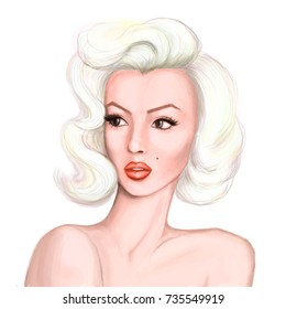 October 16, 2017: digital raster portrait of Hollywood actress Marilyn Monroe.