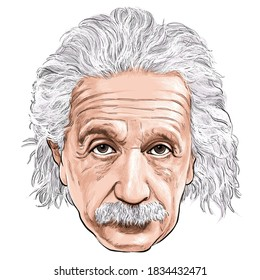 October 16, 2020 Caricature of Albert Einstein Theoretical physicist Scientist Portrait Drawing Illustration.