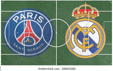 October 18, 2015: Illustration for soccer game between Real Madrid FC and Paris Saint-Germain FC, clubs logo on soccer field