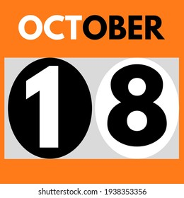 October 18 . Modern daily calendar icon .date ,day, month .calendar for the month of October