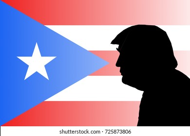 OCTOBER 2, 2017: An illustration showing the silhouette of US President Donald Trump against the flag of Puerto Rico.