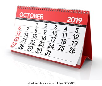 October 2019 Calendar. Isolated on White Background. 3D Illustration