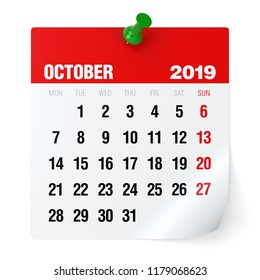 October 2019 - Calendar. Isolated on White Background. 3D Illustration