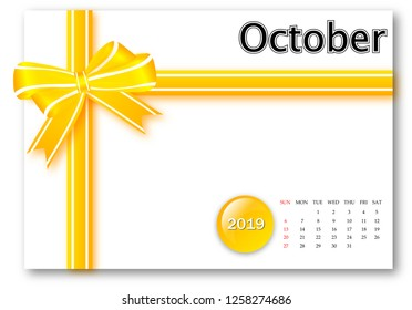 October 2019 - Calendar series with gift ribbon design
