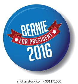 October 25, 2015: Illustration of button showing Democrat presidential candidate Bernie Sanders Donald Trump Hillary Clinton for President 2016.