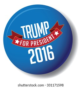October 25, 2015: Illustration of button showing Democrat presidential candidate Donald Trump for President 2016.