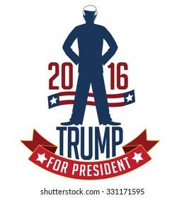 October 25, 2015: Illustration of Democrat presidential candidate Donald Trump for President 2016.