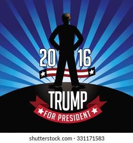 October 25, 2015: Illustration showing Democrat presidential candidate Donald Trump for President 2016.