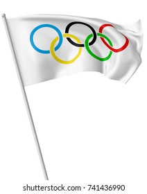 OCTOBER 25, 2017: 3D illustration of small Olympic flag on flagpole flying and waving in the wind isolated on white.