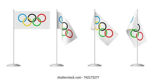 OCTOBER 25, 2017: 3D illustration of set of small Olympic table flags on stand isolated on white
