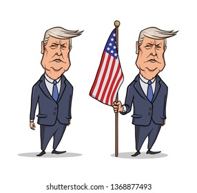 OCTOBER, 30, 2017: Caricature character of American President Donald Trump, standing with flag. Illustration, isolated on white background.
