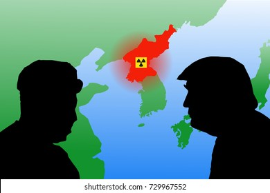 OCTOBER 8, 2018 - The map of Asia highlighting North Korea with nuclear symbol and the silhouettes of US President Trump and North Korean leader Kim Jong-un.