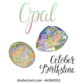 October birthstone Opal isolated on white background. Realistic illustration of gems drawn by hand with colored pencils.