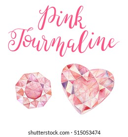 October birthstone Pink Tourmaline isolated on white background. Close up illustration of gems drawn by hand with watercolor. Realistic faceted stones.