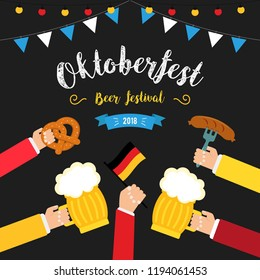 Octoberfest beer festival colorful poster. Composition with human hands toasting beer in centre and beer glasses in circle. Pretzels, beer, sausage and flag