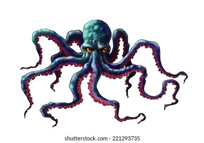 Octopus art. Painted octopus digital drawing. Illustration of octopus, sea monster on a white background.