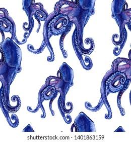 Octopus. Cuttlefish. Sea inhabitants. Watercolor.