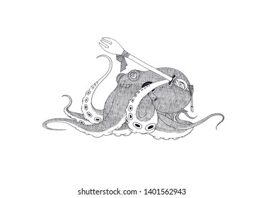 An octopus with a fork