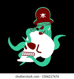Octopus pirate and skull. poulpe buccaneer and skeleton head. Eye patch and smoking pipe. pirates cap. Bones and See animal filibuster