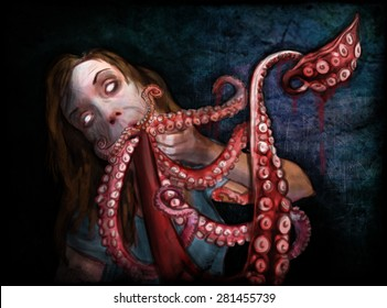 Octopus salad of tentacles, horror theme of zombies Resolution 3189x2362 pixels, ready per printing 300 DPI