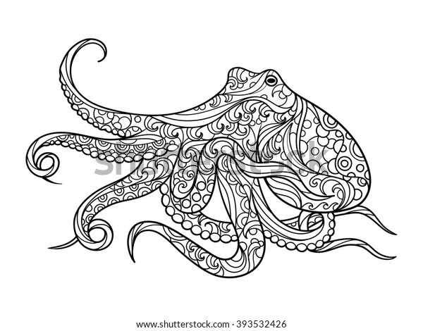 octopus sea animal coloring book adults stockillustration