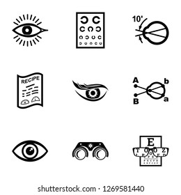 Oculist icons set. Simple set of 9 oculist icons for web isolated on white background