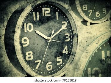 Od vintage clocks over a grunge background