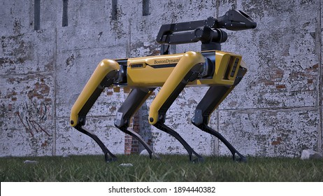 Odesa, Ukraine - 14 January 2021: yellow Robot Dog Boston Dynamics Industrial sensing remote operation needs Spot Mini guard model isolated white background 3d illustration outside standing