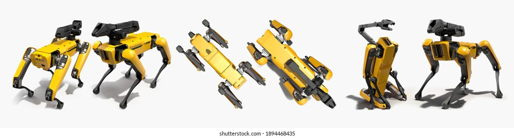 Odesa, Ukraine - 14 January 2021: yellow Robot Dog Boston Dynamics Industrial sensing remote operation arm Spot Mini guard model isolated white background 3d illustration different angles top side