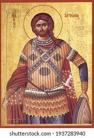 ODESSA REGION, UKRAINE – NOVEMBER, 29, 2019: Orthodox icon of the Byzantine style St. Artemy