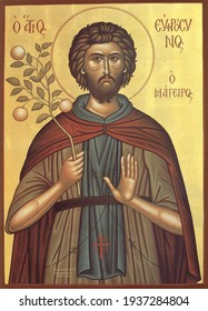 ODESSA REGION, UKRAINE – NOVEMBER, 29, 2019: Orthodox icon of Saint Frosin