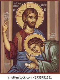 ODESSA REGION, UKRAINE – NOVEMBER, 29, 2019: Orthodox icon of the Byzantine style