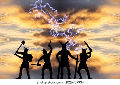 Odin and three other Old Norse Gods with cold arms in guise of the Vikings, facing a stormy sky with dark clouds and powerful lightning, Old Norse myths theme, fantasy illustration