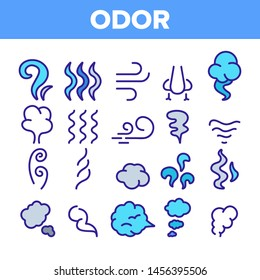 Odor, Smoke, Smell Linear Icons Set. Odor, Hot Cooking Steam, Wind Outline Symbols Pack. Empty Speech Bubble, Cloud. Evaporation, Fog, Aromatic Fragrance Isolated Contour Illustrations