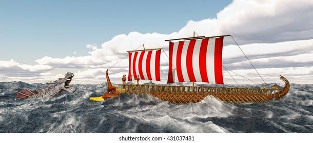 Odysseus, Charybdis and Skylla Computer generated 3D illustration